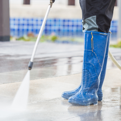Pressure Washing the Driveway